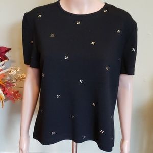 St. John short sleeve sweater gold design